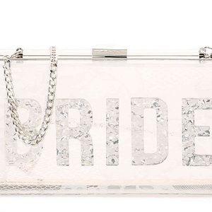Acrylic bride clutch with silver glitter